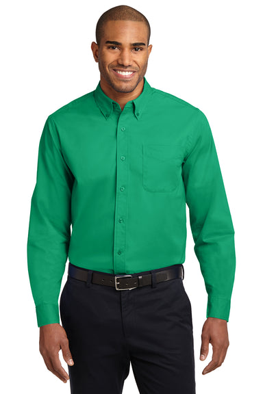 Port Authority S608 Mens Easy Care Wrinkle Resistant Long Sleeve Button Down Shirt w/ Pocket Court Green Front