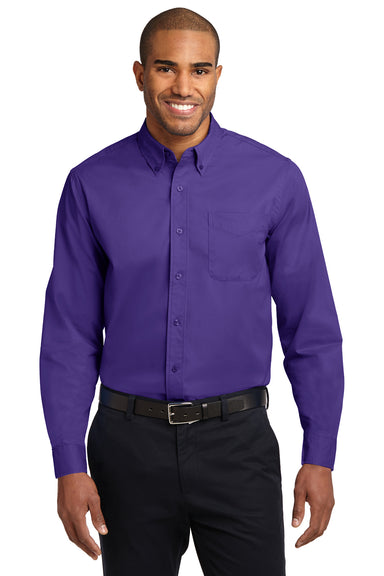 Port Authority S608 Mens Easy Care Wrinkle Resistant Long Sleeve Button Down Shirt w/ Pocket Purple Front