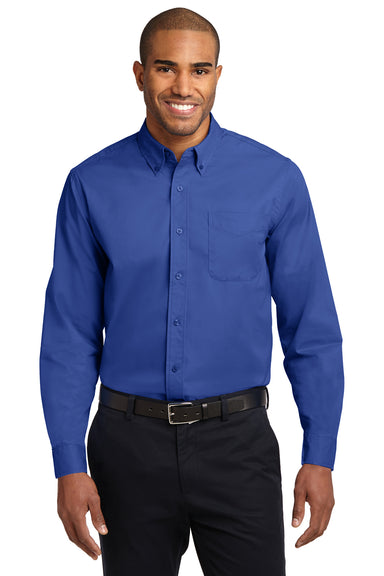 Port Authority S608 Mens Easy Care Wrinkle Resistant Long Sleeve Button Down Shirt w/ Pocket Royal Blue Front