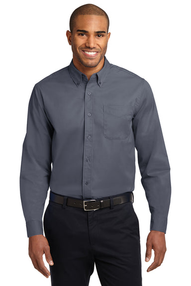Port Authority S608 Mens Easy Care Wrinkle Resistant Long Sleeve Button Down Shirt w/ Pocket Steel Grey Front