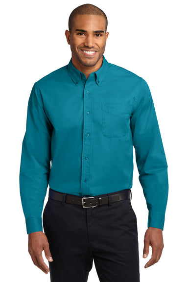 Port Authority S608 Mens Easy Care Wrinkle Resistant Long Sleeve Button Down Shirt w/ Pocket Teal Green Front