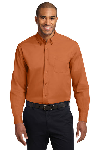 Port Authority S608 Mens Easy Care Wrinkle Resistant Long Sleeve Button Down Shirt w/ Pocket Texas Orange Front