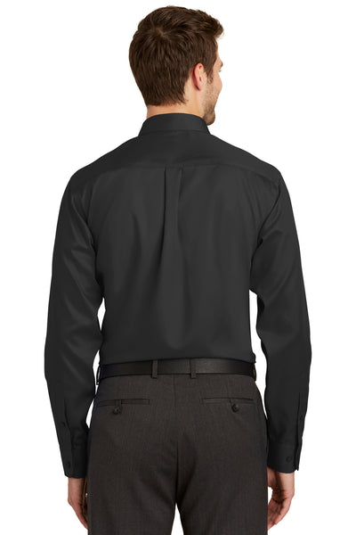 Port Authority S638 Mens Wrinkle Resistant Long Sleeve Button Down Shirt w/ Pocket Black Back