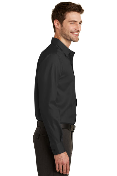 Port Authority S638 Mens Wrinkle Resistant Long Sleeve Button Down Shirt w/ Pocket Black Side