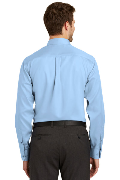 Port Authority S638 Mens Wrinkle Resistant Long Sleeve Button Down Shirt w/ Pocket Sky Blue Back