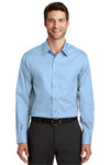 Port Authority S638 Mens Wrinkle Resistant Long Sleeve Button Down Shirt w/ Pocket Sky Blue Front