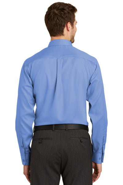 Port Authority S638 Mens Wrinkle Resistant Long Sleeve Button Down Shirt w/ Pocket Ultramarine Blue Back