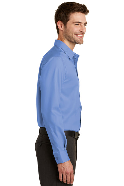 Port Authority S638 Mens Wrinkle Resistant Long Sleeve Button Down Shirt w/ Pocket Ultramarine Blue Side