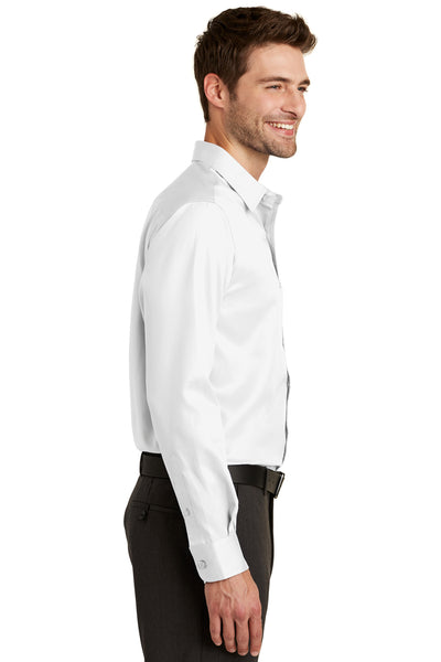 Port Authority S638 Mens Wrinkle Resistant Long Sleeve Button Down Shirt w/ Pocket White Side