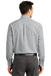Port Authority S639 Mens Easy Care Wrinkle Resistant Long Sleeve Button Down Shirt w/ Pocket Charcoal Grey Back