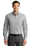 Port Authority S639 Mens Easy Care Wrinkle Resistant Long Sleeve Button Down Shirt w/ Pocket Charcoal Grey Front
