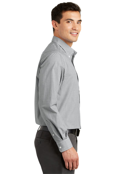 Port Authority S639 Mens Easy Care Wrinkle Resistant Long Sleeve Button Down Shirt w/ Pocket Charcoal Grey Side