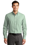Port Authority S639 Mens Easy Care Wrinkle Resistant Long Sleeve Button Down Shirt w/ Pocket Green Front