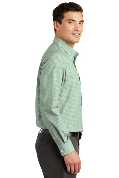 Port Authority S639 Mens Easy Care Wrinkle Resistant Long Sleeve Button Down Shirt w/ Pocket Green Side