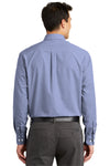 Port Authority S639 Mens Easy Care Wrinkle Resistant Long Sleeve Button Down Shirt w/ Pocket Navy Blue Back