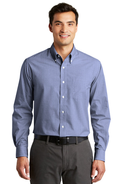 Port Authority S639 Mens Easy Care Wrinkle Resistant Long Sleeve Button Down Shirt w/ Pocket Navy Blue Front