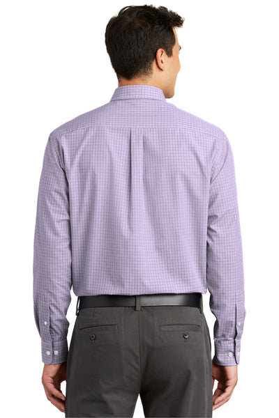 Port Authority S639 Mens Easy Care Wrinkle Resistant Long Sleeve Button Down Shirt w/ Pocket Purple Back