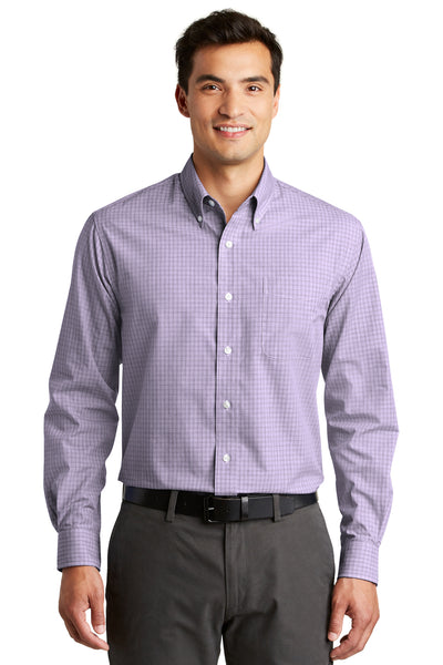 Port Authority S639 Mens Easy Care Wrinkle Resistant Long Sleeve Button Down Shirt w/ Pocket Purple Front