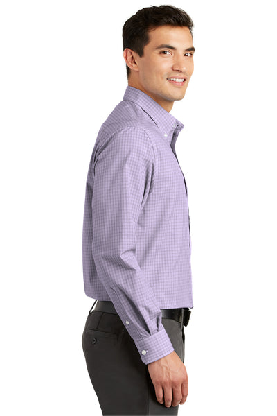Port Authority S639 Mens Easy Care Wrinkle Resistant Long Sleeve Button Down Shirt w/ Pocket Purple Side