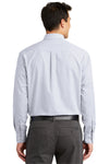 Port Authority S639 Mens Easy Care Wrinkle Resistant Long Sleeve Button Down Shirt w/ Pocket White Back