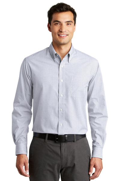 Port Authority S639 Mens Easy Care Wrinkle Resistant Long Sleeve Button Down Shirt w/ Pocket White Front