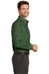 Port Authority S640 Mens Easy Care Wrinkle Resistant Long Sleeve Button Down Shirt w/ Pocket Dark Cactus Green Side