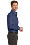 Port Authority S640 Mens Easy Care Wrinkle Resistant Long Sleeve Button Down Shirt w/ Pocket Deep Blue Side
