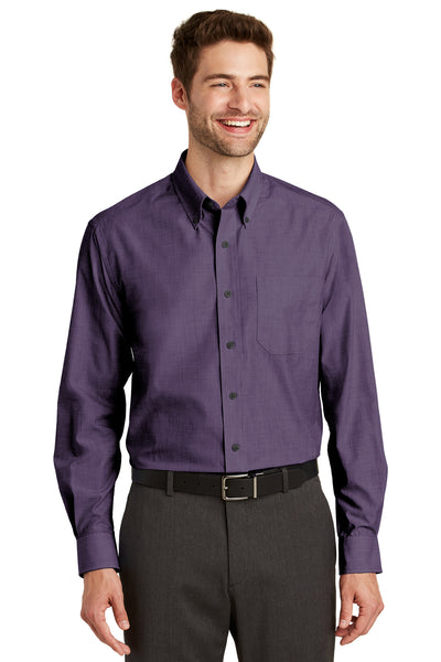 Port Authority S640 Mens Easy Care Wrinkle Resistant Long Sleeve Button Down Shirt w/ Pocket Grape Purple Front