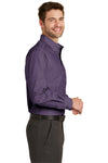 Port Authority S640 Mens Easy Care Wrinkle Resistant Long Sleeve Button Down Shirt w/ Pocket Grape Purple Side