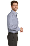 Port Authority S640 Mens Easy Care Wrinkle Resistant Long Sleeve Button Down Shirt w/ Pocket Navy Blue Frost Side