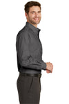 Port Authority S640 Mens Easy Care Wrinkle Resistant Long Sleeve Button Down Shirt w/ Pocket Soft Black Side