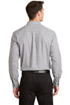 Port Authority S654 Mens Easy Care Wrinkle Resistant Long Sleeve Button Down Shirt w/ Pocket Black/Charcoal Grey Back