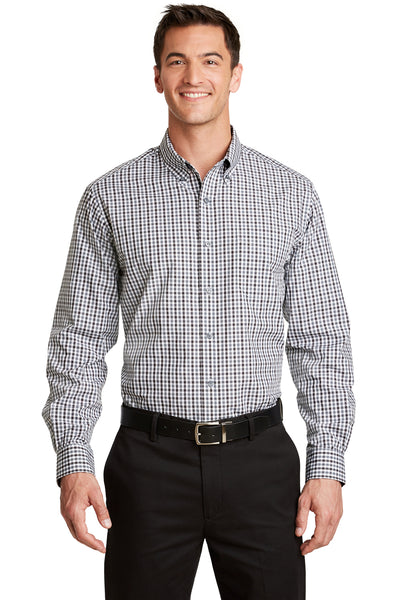 Port Authority S654 Mens Easy Care Wrinkle Resistant Long Sleeve Button Down Shirt w/ Pocket Black/Charcoal Grey Front