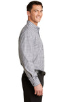 Port Authority S654 Mens Easy Care Wrinkle Resistant Long Sleeve Button Down Shirt w/ Pocket Black/Charcoal Grey Side