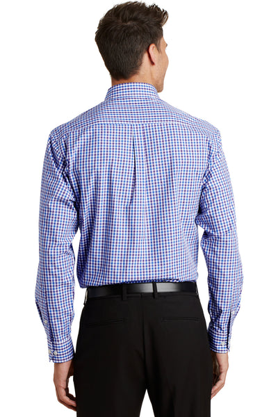 Port Authority S654 Mens Easy Care Wrinkle Resistant Long Sleeve Button Down Shirt w/ Pocket Blue/Purple Back