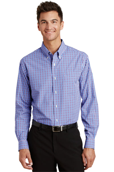 Port Authority S654 Mens Easy Care Wrinkle Resistant Long Sleeve Button Down Shirt w/ Pocket Blue/Purple Front