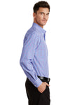 Port Authority S654 Mens Easy Care Wrinkle Resistant Long Sleeve Button Down Shirt w/ Pocket Blue/Purple Side