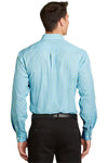 Port Authority S654 Mens Easy Care Wrinkle Resistant Long Sleeve Button Down Shirt w/ Pocket Green/Aqua Blue Back
