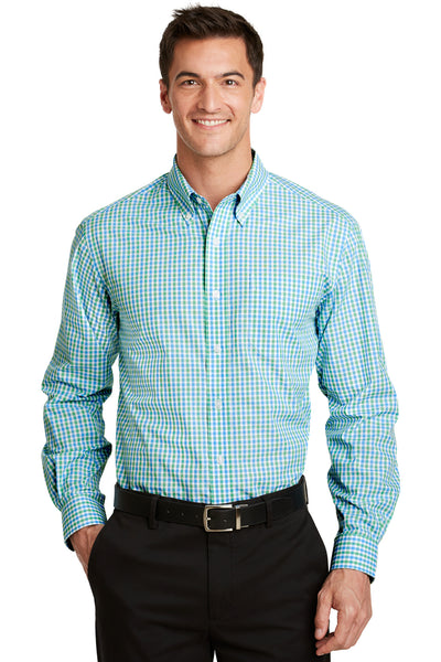 Port Authority S654 Mens Easy Care Wrinkle Resistant Long Sleeve Button Down Shirt w/ Pocket Green/Aqua Blue Front