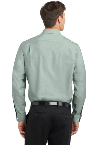 Port Authority S658 Mens SuperPro Oxford Wrinkle Resistant Long Sleeve Button Down Shirt w/ Pocket Green Back