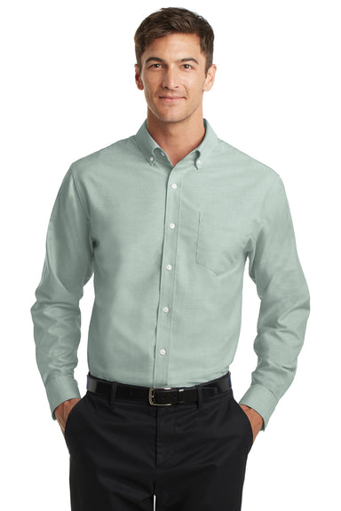 Port Authority S658 Mens SuperPro Oxford Wrinkle Resistant Long Sleeve Button Down Shirt w/ Pocket Green Front