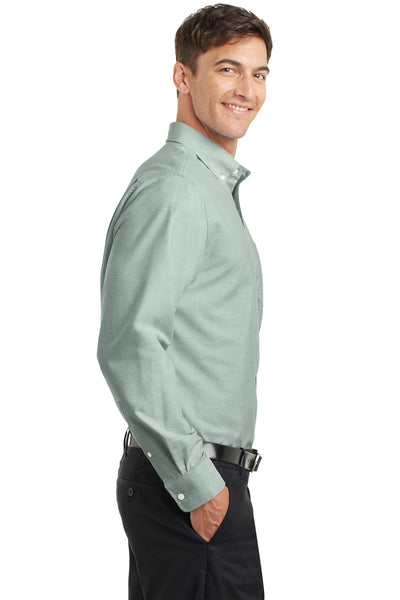 Port Authority S658 Mens SuperPro Oxford Wrinkle Resistant Long Sleeve Button Down Shirt w/ Pocket Green Side