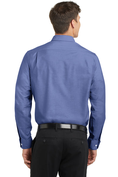 Port Authority S658 Mens SuperPro Oxford Wrinkle Resistant Long Sleeve Button Down Shirt w/ Pocket Navy Blue Back