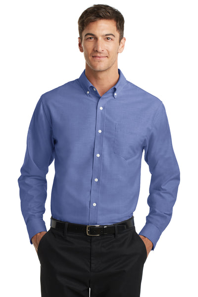Port Authority S658 Mens SuperPro Oxford Wrinkle Resistant Long Sleeve Button Down Shirt w/ Pocket Navy Blue Front