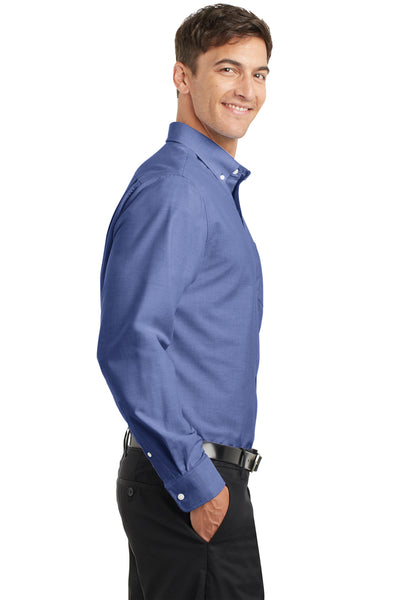Port Authority S658 Mens SuperPro Oxford Wrinkle Resistant Long Sleeve Button Down Shirt w/ Pocket Navy Blue Side