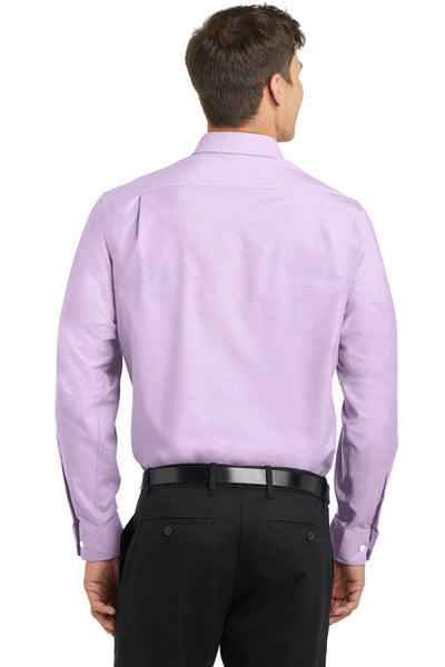 Port Authority S658 Mens SuperPro Oxford Wrinkle Resistant Long Sleeve Button Down Shirt w/ Pocket Purple Back