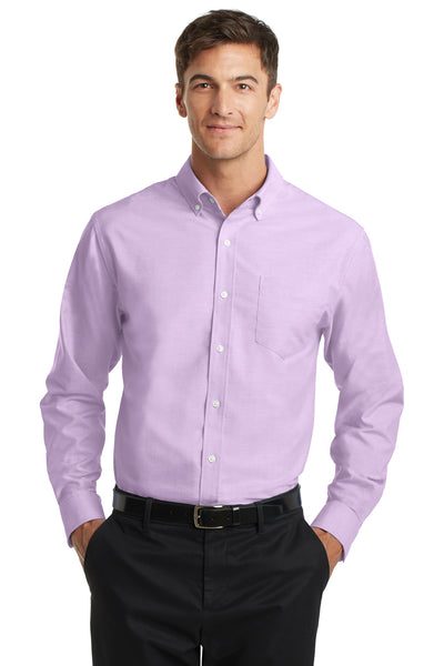 Port Authority S658 Mens SuperPro Oxford Wrinkle Resistant Long Sleeve Button Down Shirt w/ Pocket Purple Front