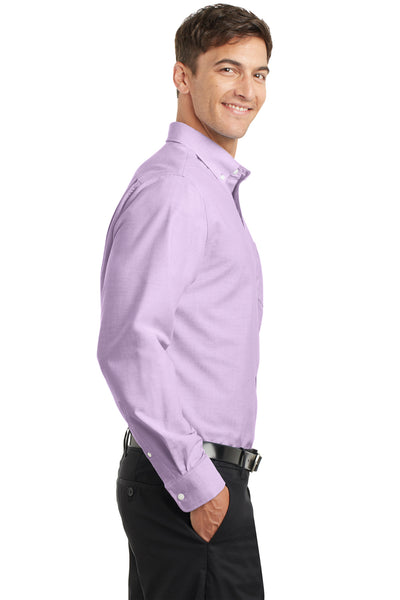 Port Authority S658 Mens SuperPro Oxford Wrinkle Resistant Long Sleeve Button Down Shirt w/ Pocket Purple Side