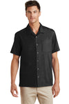 Port Authority S662 Mens Wrinkle Resistant Short Sleeve Button Down Camp Shirt w/ Pocket Black Front
