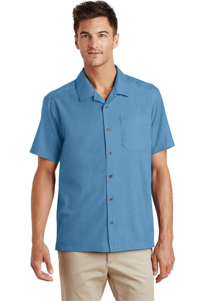 Port Authority S662 Mens Wrinkle Resistant Short Sleeve Button Down Camp Shirt w/ Pocket Celadon Blue Front